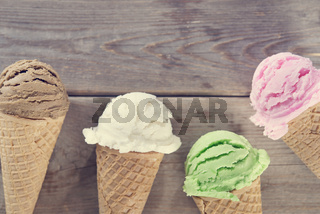 Assorted ice cream cone.