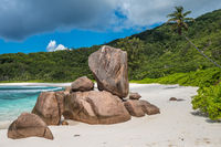 Tropical beach on La Digue island, Seychelles