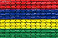 flag of Mauritius painted on brick wall