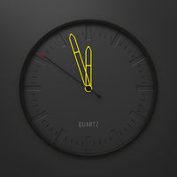 modern stylish clock with yellow pointers