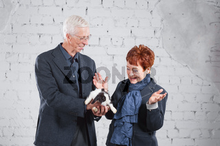 Happy smiling old couple standing together with pet rabbit on white brick background.