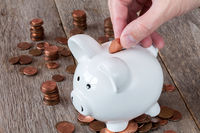 Hand placing coin in a piggy-bank