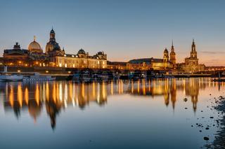 Die Skyline von Dresden bei Sonnenuntergang