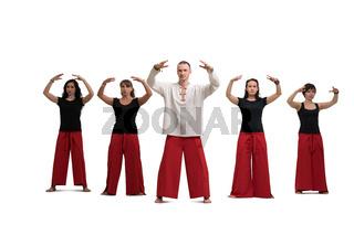 Group yoga training shot isolated