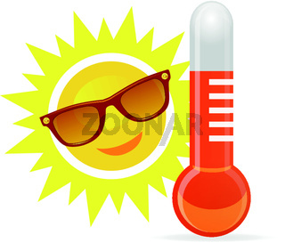 Cheerful, smiling cartoon sun in sunglasses next to the temperature thermometer