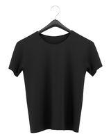 black t-shirt on clothing hanger isolated on white background. 3d illustration