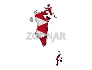 Karte und Fahne von Bahrain auf altem Leinen - Map and flag of Bahrain on old linen