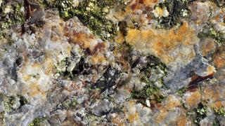 Polierte Oberfläche von Pegmatit, Makroaufnahme