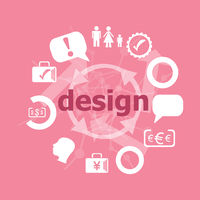 Text Design. web design concept . Set of flat icons for mobile app and web