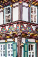 Muster an einem Fachwerkhaus in Stolberg (Harz)