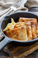 Crepes with butter for breakfast.