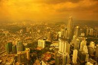 Aerial View Kuala Lumpur city skyline sunset