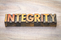 integrity word abstract in wood type