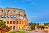 Rome sunrise city skyline at Rome Colosseum (Roma Coliseum), Rome, Italy