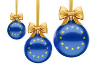 3D rendering Christmas ball with the flag of European union