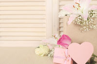 Valentine card and flowers