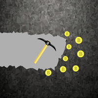 Golden Bitcoin on Grey Background. Crypto Currency Mining with Coins and Pickaxes