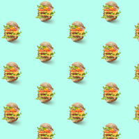 pattern of flying hamburgers with vegetables
