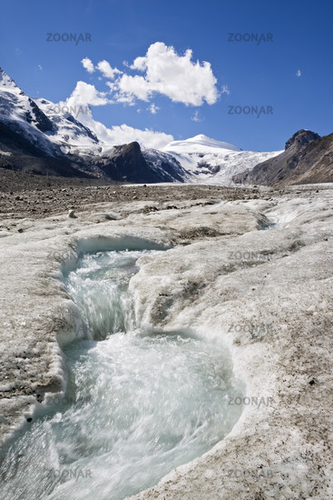 Gletscherbach am Pasterze Gletscher, Nationalpark Hohe Tauern, Kaernten, Oesterreich, glacier torrent, glacier Pasterze, Carinthia, Austria