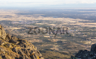 Aerial view of Montanchez Mountain Range from La Cogolla peak