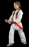 Girl martial arts fighter isolated