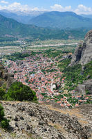 Meteora rock mountains and Kalabaka city, Greece