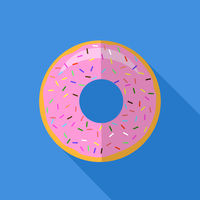 Sweet Glaze Pink Donut. Fast Food Icon Flat Design. Top View.