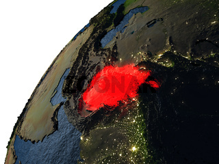 Afghanistan in red on Earth at night