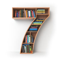 Number 7 seven. Alphabet in the form of shelves with books isolated on white.