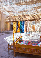 hanks of threads for production of traditional Uzbek handwork in the small bazaar