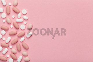 Medical Pills for Woman on Pink Background
