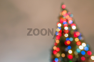 Defocused christmas tree with blurred lights