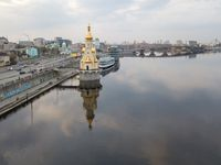 Church of St. Nicholas the Wonderworker in the waters in Kyiv city, Ukraine