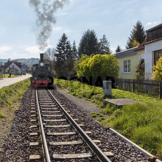 Eisenbahn Lokomotive auf Schienen im Frühling