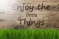 Sunny Wooden Background, Gras, Quote Enjoy The Little Things