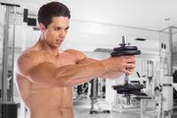 Bodybuilder Bodybuilding Muskeln Training Schulter Schultern Fitnessstudio Hantel Mann stark Kraft muskulös