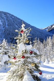 geschmückter Christbaum in der Natur