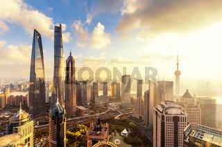 cityscape and skyline of shanghai at sunrise