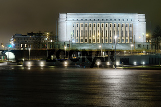finnish parliament building at night