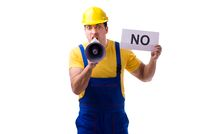 Worker responding negatively no isolated on white