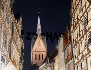 Altstadt Hannover mit Marktkirche bei Nacht