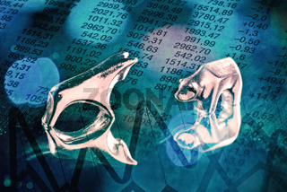 Bulle und Bär mit Aktienkursen