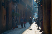Old Town street of Barcelona