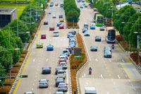 Cars traffic road Singapore aerial