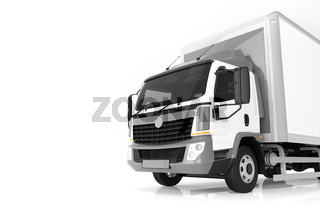 Commercial cargo delivery truck with blank white trailer. Generic, brandless design.