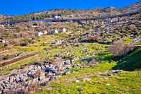 Klis hillside village and Split motorway view