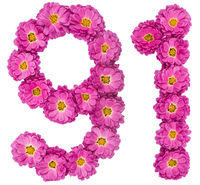 Arabic numeral 91, ninety one, from flowers of chrysanthemum, isolated on white background