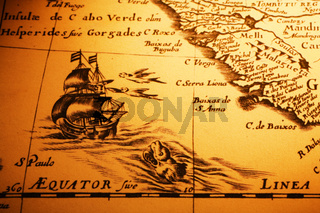 Old Map Sea Monster Sailing Ship Equator Africa