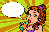 woman funny drinking a bottle of water or beer