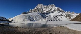 Spring scene in Gokyo, Nepal. Frozen lake.